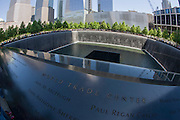 Distorted by fish-eye lens, names of victims at the 9/11 Memorial in New York, killed at the locations of terrorist attacks on September 11th 2001. The National September 11 Memorial is a tribute of remembrance and honor to the nearly 3,000 people killed in the terror attacks of September 11, 2001 at the World Trade Center site, near Shanksville, Pa., and at the Pentagon, as well as the six people killed in the World Trade Center bombing in February 1993.