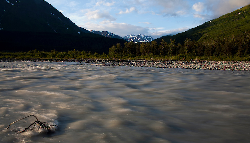 Alaska2010.-Glacier runoff beneath outside of Homer Alaska.