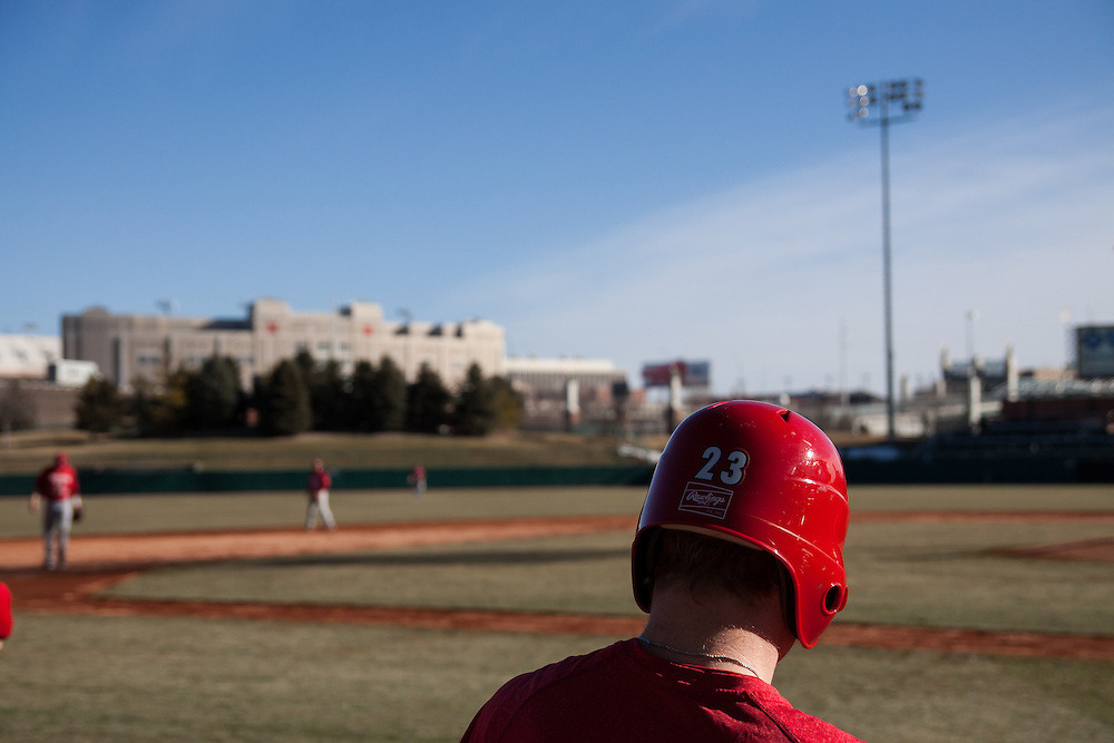 January 25, 2013: First day of practice Jake Placzek #23 waiting to bat during scrimmage at Haymarket Park in Lincoln, Nebraska.