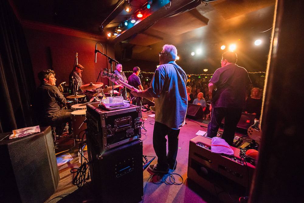 A behind the scenes shot of Los Lobos performing at Fitzgerald's in Berwyn, Illinois.