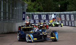 e.dams Renault driver Sebastien Buemi on his way to victory in the Visa London ePrix at Battersea Park, London.