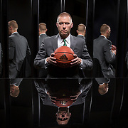 UVU basketball coach Mark Pope with mirrors in the studio on the Campus of Utah Valley University in Orem, Utah, Monday July 13, 2015. (August Miller, UVU Marketing)