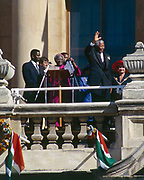 Nelson Mandela  and Archbishop Desmond Tutu in Cape Town, South Africa, celebrate Mandela&rsquo;s 1994 presidential victory from a balcony of the City Hall.<br /> <br /> Photograph &copy; nic bothma
