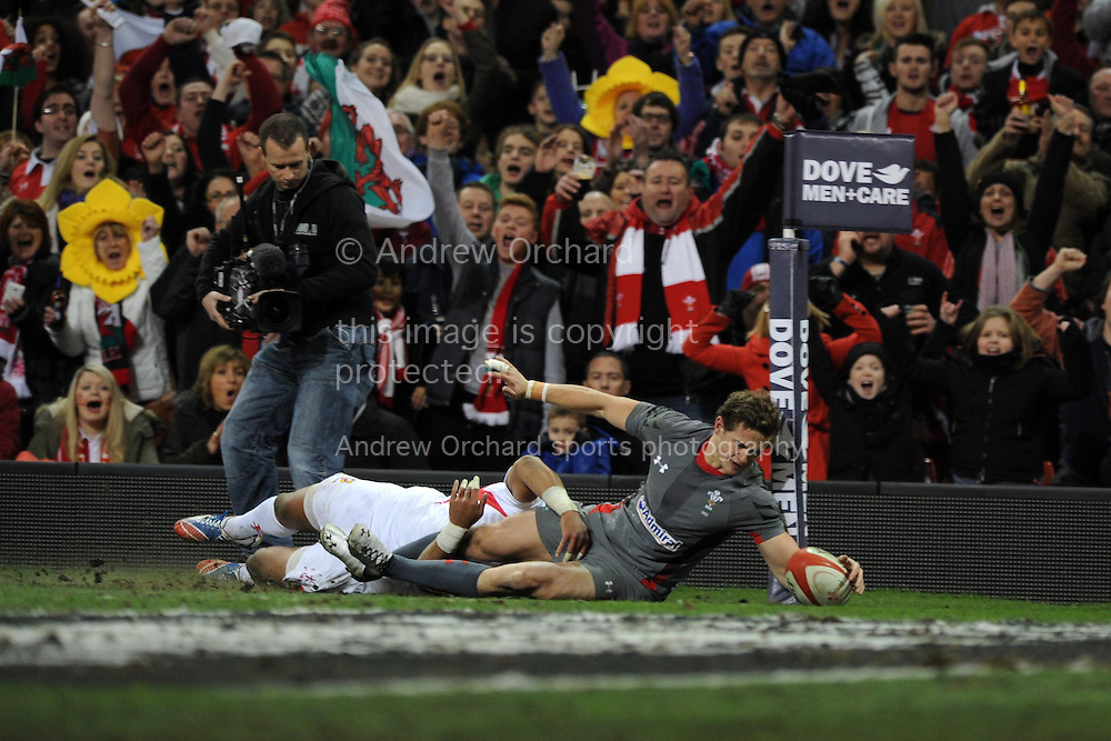 Hallam Amos of Wales dives over but his try is disallowed . Dove Men series, autumn international rugby match, Wales v Tonga at the Millennium Stadium in Cardiff, South Wales on Friday 22nd November 2013. pic by Andrew Orchard, Andrew Orchard sports photography,