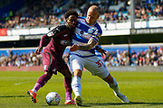 Swansea City midfielder Nathan Dyer (12) battles for possession with Queens Park Rangers defender Toni Leistner (37) during the EFL Sky Bet Championship match between Queens Park Rangers and Swansea City at the Loftus Road Stadium, London, England on 13 April 2019.