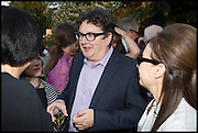 MARK WALLINGER; MAUREEN PALEY, 2014 Serpentine's summer party sponsored by Brioni.with a pavilion designed this year by Chilean architect Smiljan Radic  Kensington Gdns. London. 1July 2014