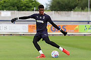 AFC Wimbledon goalkeeper Nathan Trott (1) warming up during the Pre-Season Friendly match between AFC Wimbledon and Brentford at the Cherry Red Records Stadium, Kingston, England on 5 July 2019.