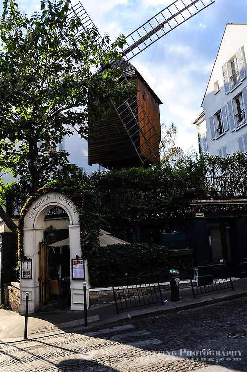 Paris, France. Montmatre has always attracted artists. Restaurant in an old wind mill.