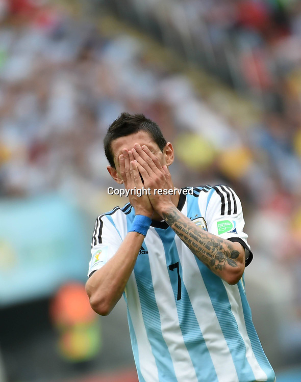 25.06.2014. Porto Alegre, Brazil.  Argentinas Angel Di Maria reacts to a close miss during a Group F match between Nigeria and Argentina of 2014 FIFA World Cup at the Estadio Beira-Rio Stadium in Porto Alegre, Brazil, on June 25, 2014.