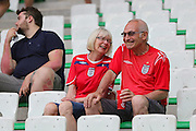 England fans share a laugh during the Euro 2016 Group B match between Slovakia and England at Stade Geoffroy Guichard, Saint-Etienne, France on 20 June 2016. Photo by Phil Duncan.