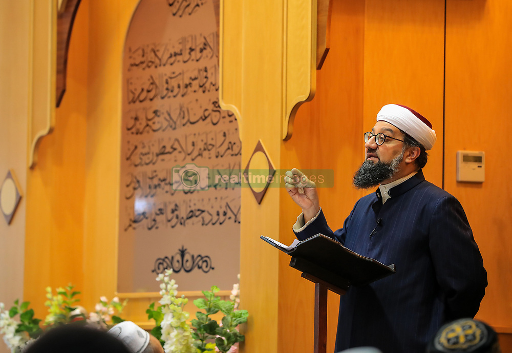 Imam Irfan Chishti speaks to worshippers attending Friday prayers at Manchester Central Mosque following the terror attack in the city earlier this week.