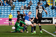Carlisle United Defender Tom Miller scores the equaliser  during the Sky Bet League 2 match between Carlisle United and Mansfield Town at Brunton Park, Carlisle, England on 9 April 2016. Photo by Craig McAllister.