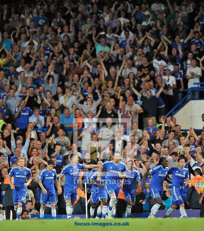 Picture by Alan Stanford/Focus Images Ltd +44 7915 056117<br /> 21/08/2013<br /> Chelsea  players celebrate their second goal during the Barclays Premier League match at Stamford Bridge, London.