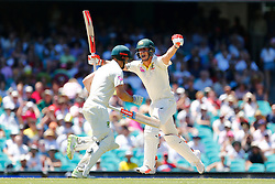 Australia's Mitchell Marsh Marsh celebrates his century during day four of the Ashes Test match at Sydney Cricket Ground.