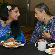 Delegates Neha Misra and Casey Camp-Horinek at the  International Women's Earth and Climate Summit. Leaders from 35+ countries gathered for the drafting of a Women's Climate Action Agenda in Suffern, New York September 20-23rd, 2013 as part of the International Women's Earth and Climate Summit.  For a full list of Summit delegates and an agenda visit www.iweci.org. Photo by Lori Waselchuk/Magazines OUT