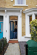 Lana Wrightman at her  front door on 31 Groombridge Road, Hackney, London CREDIT: Vanessa Berberian for The Wall Street Journal<br /> HACKNEY-Lana Wrightman