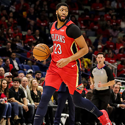 Oct 19, 2018; New Orleans, LA, USA; New Orleans Pelicans forward Anthony Davis (23) against the Sacramento Kings during the first half at the Smoothie King Center. The Pelicans defeated the Kings 149-129. Mandatory Credit: Derick E. Hingle-USA TODAY Sports