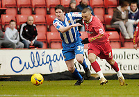Photo: Leigh Quinnell.<br /> Swindon Town v Chester City. Coca Cola League 2. 24/02/2007. Swindons Christian Roberts battles with Chesters Alan Kearney.