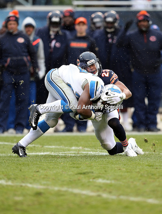 Detroit Lions running back Theo Riddick (25) gets tackled hard by Chicago Bears cornerback Kyle Fuller (23) after catching a fourth quarter pass for a gain of 7 yards and a first down during the NFL week 17 regular season football game against the Chicago Bears on Sunday, Jan. 3, 2016 in Chicago. The Lions won the game 24-20. (©Paul Anthony Spinelli)