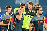 BHUBANESWAR, INDIA -  Teleurstelling Jorrit Croon (Ned) en keeper Sam van der Ven (Ned) , Jeroen Hertzberger (Ned) en links Thierry Brinkman (Ned)  na de verloren shoot outs na  de  finale tussen België en Nederland (0-0)  bij het WK Hockey heren in het Kalinga Stadion. Belgie wint de shoot outs . COPYRIGHT KOEN SUYK