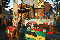 View on Heidelberg Street. Heidelberg Project, Detroit, Michigan.  The Heidelberg Project is a grass roots project started by artist Tyree Guyton that uses art to help revitalize the embattled neighborhood.  Each year, over 275,000 people visit the project .  For more information, go to www.heidelberg.org