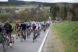 The peloton rides towards Goronne during the Liege-Bastogne-Liege Femmes - a 135.5 km road race, between  Bastogne and Ans on April 23, 2017, in Liege, Belgium.