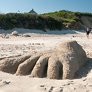 Sand Sculpture on Crescent Beach at Block Island, Rhode Island
