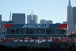 General view of the America's Cup village along the San Francisco Bay during the 2013 America's Cup Finals San Francisco, California.