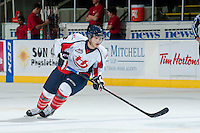 KELOWNA, CANADA - OCTOBER 16: Griffin Foulk #2 of the Lethbridge Hurricanes skates on the ice against the Kelowna Rockets on October 16, 2013 at Prospera Place in Kelowna, British Columbia, Canada.   (Photo by Marissa Baecker/Shoot the Breeze)  ***  Local Caption  ***