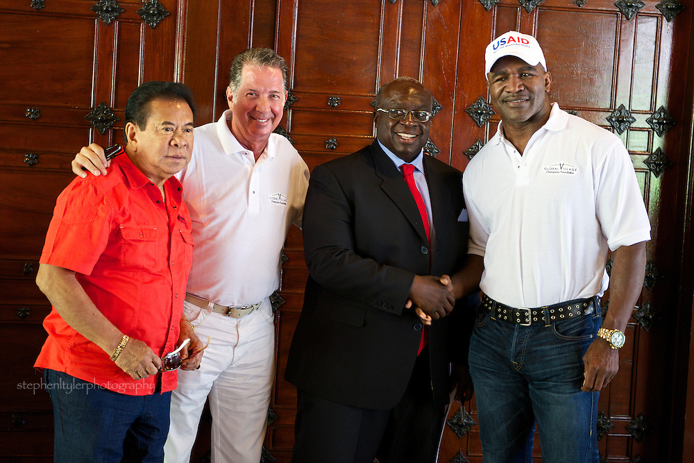 Former Governor Chavit Singson, Yank Barry (founder of GVCF), U.S. Ambassador Harry K. Thomas, Jr. and 5 time former world heavyweight boxing champion Evander Holyfield.