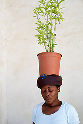 Artist and performer Otobong Nkanga on opening day of the 11th Sharjah Biennial Art festival in United Arab Emirates