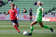 MELBOURNE, VIC - MARCH 06: Minji Yeo (20) of Korea Republic attempt to press the ball from Erin Nayler (1) of New Zealand during The Cup of Nations womens soccer match between New Zealand and Korea Republic on March 06, 2019 at AAMI Park, VIC. (Photo by Speed Media/Icon Sportswire)