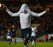 Picture by David Horn/Focus Images Ltd +44 7545 970036<br /> 14/11/2013<br /> Saido Berahino of England Under 21 celebrates scoring his team's second goal to make it 2-0 with a message on his shirt that reads 'RIP Love U DAD' during the European U21 Championship match at stadium:mk, Milton Keynes.