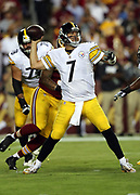 Pittsburgh Steelers quarterback Ben Roethlisberger (7) throws a pass for a first down in the second quarter despite pressure by Washington Redskins linebacker Preston Smith (94) during the 2016 NFL week 1 regular season football game against the Washington Redskins on Monday, Sept. 12, 2016 in Landover, Md. The Steelers won the game 38-16. (©Paul Anthony Spinelli)