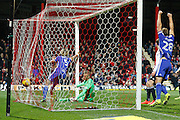 Birmingham City Defender Ryan Shotton (5) scores a goal and celebrates his goal to make it 2-0 during the EFL Sky Bet Championship match between Brentford and Birmingham City at Griffin Park, London, England on 26 November 2016. Photo by Andy Walter.