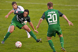 03.08.2010, Thermenbad Stadion, Bad Waltersdorf, AUT, Werder Bremen vs FK Rad Belgrad, Friendly Match  1. FBL 2010  im Bild  Claudio Pizarro ( Werder #24 ) Daniel Jensen ( Werder #20 )    EXPA Pictures © 2010, PhotoCredit: EXPA/ nph/  Kokenge+++++ ATTENTION - OUT OF GER +++++ / SPORTIDA PHOTO AGENCY