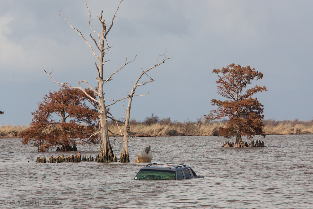 Car in Venice Lousiana underwater after Hurricane Isaac.