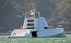 "Wellington-Russian Super Yacht ""A"" anchored in harbour"
