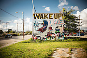 Mural covers an entire two-story building in Miami's Wynwood arts district