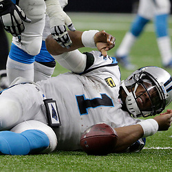 Jan 7, 2018; New Orleans, LA, USA; Carolina Panthers quarterback Cam Newton (1) reacts after a tackle by the New Orleans Saints during the fourth quarter in the NFC Wild Card playoff football game at Mercedes-Benz Superdome. Mandatory Credit: Derick E. Hingle-USA TODAY Sports