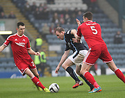 Dundee's David Clarkson takes on Aberdeen&rsquo;s Ash Taylor and Ryan Jack-  Dundee v Aberdeen, William Hill Scottish FA Cup 4th round at Dens Park<br /> <br />  - &copy; David Young - www.davidyoungphoto.co.uk - email: davidyoungphoto@gmail.com