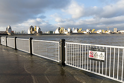 © Licensed to London News Pictures. 04/01/2018. London, UK. The Thames Barrier is seen closed for the second consecutive day this afternoon, to protect the capital from flooding Storm Eleanor and high tides. Photo credit: Vickie Flores/LNP