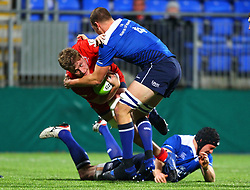 Joe Batley of Bristol United is tackled by Ross Molony of Leinster - Mandatory by-line: Ken Sutton/JMP - 15/12/2017 - RUGBY - Donnybrook Stadium - Dublin,  - Leinster 'A' v Bristol United -