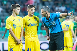 Ziga Repas of NK Domzale with Adam Gnezda Cerin of NK Domzale and Damir Skomina head referee during football match between NK Olimpija and NK Domzale in 2nd Round of Prva liga Telekom Slovenije 2019/20, on July 21st, 2019, in Stadium Stozice, Ljubljana, Slovenia. Photo by Grega Valancic / Sportida