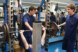 27 November 2007: North Carolina Tar Heels men's lacrosse Bart Wagner (spotting), Gavin Petracca (on bench) and Matthias McCall during a weight lifting session in Chapel Hill, NC.