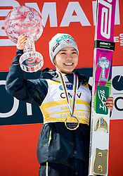 Overall World Cup winner in women classification Sara Takanashi (JPN) celebrates with a globe  during trophy ceremony after the Ski Flying Hill Individual Competition at Day 4 of FIS Ski Jumping World Cup Final 2016, on March 20, 2016 in Planica, Slovenia. Photo by Vid Ponikvar / Sportida