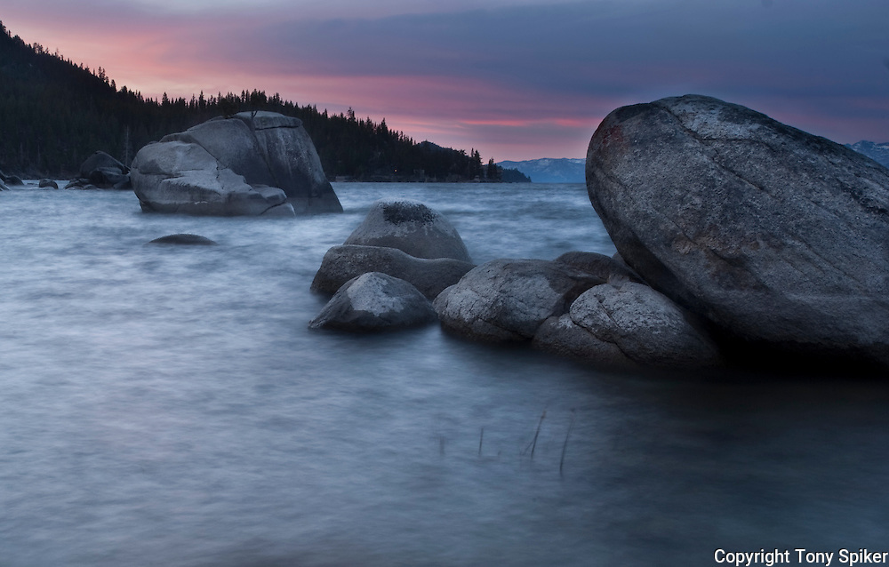 """Bonsai Rock Sunrise 2"" - The sun rises over Bonsai Rock on Lake Tahoe's Eastern shore"