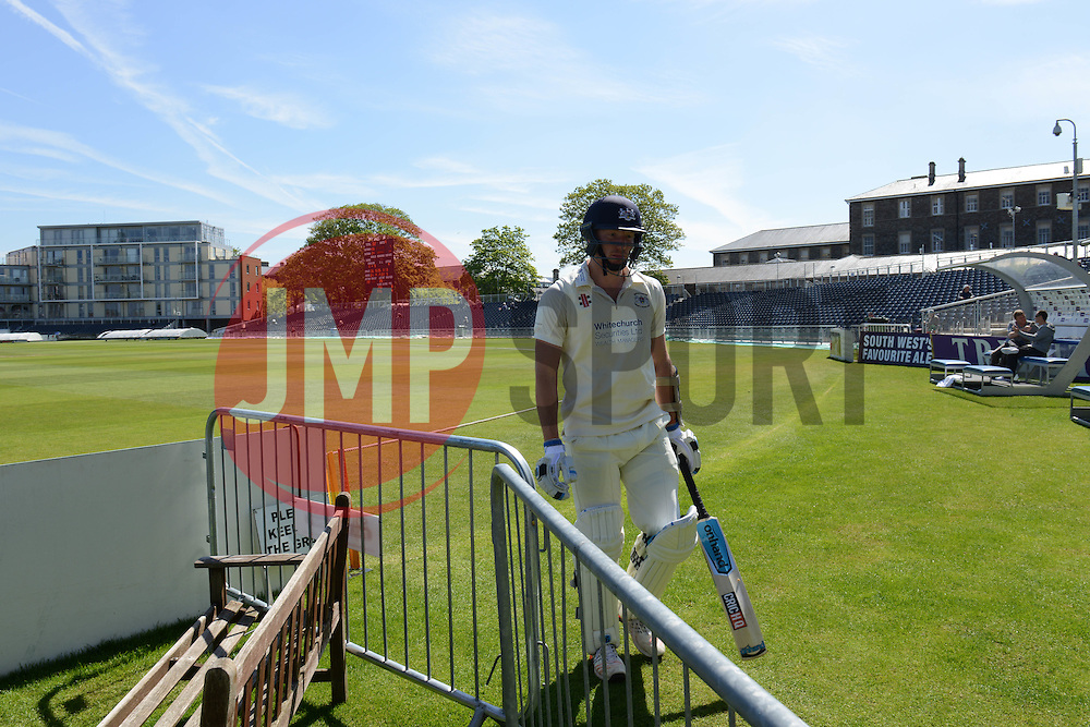 Liam Norwell of Gloucestershire walks off the pitch as his team are all out - Photo mandatory by-line: Dougie Allward/JMP - Mobile: 07966 386802 - 21/05/2015 - SPORT - Cricket - Bristol - County Ground - Gloucestershire v Kent - LV=County Cricket