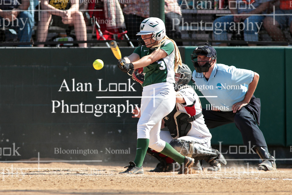 09 May 2014:  Sara Rogers bats, Maddie Dieleman catches during an NCAA Division III women's softball championship series game between the Lake Forest Foresters and the Illinois Wesleyan Titans in Bloomington IL