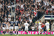 Twickenham, United Kingdom.  The supporters, celebrate as Jonathan JOSEPH, goes over to touch down, for the first try. Six Nations International Rugby, Calcutta Cup Game, England vs Scotland, RFU Stadium, Twickenham, England, <br /> <br /> Saturday  11/03/2017<br /> <br /> [Mandatory Credit; Peter Spurrier/Intersport-images]